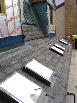 Slate roof with roof lights